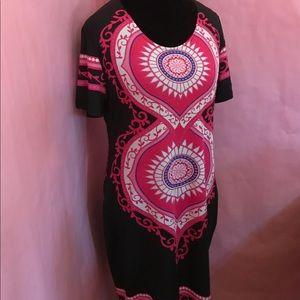 Colorful Ethnic Print Shift Dress